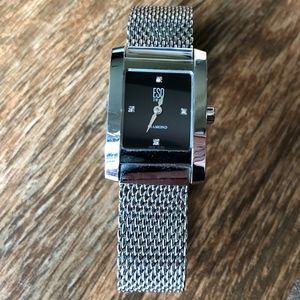 ESQ Womens Black Face Silver Watch